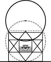 The occult Vesica Piscis in the core of the Mother's Temple/Matrimandir(mis-constructed in Auroville) as seen by Patrizia Norelli-Bachelet (Thea), This image is a synthesis of two images from 'The New Way Vols. 1&2', pp. 238, p. 241