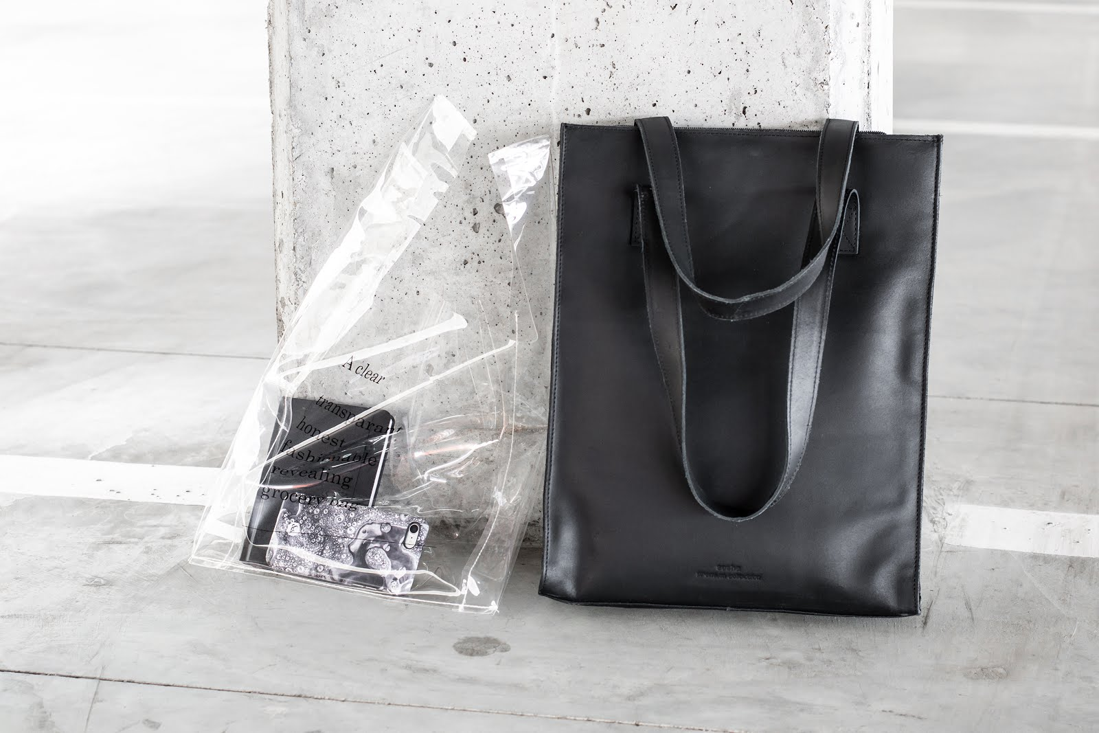 Sacha, handtas, tote bag, transparant, leather, laptop, minimal, black, 2019, transparent