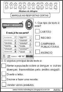 Atividades sobre o cartaz da dengue