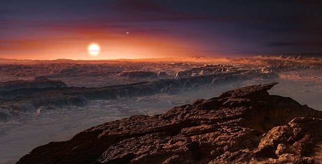 This artist's impression shows a view of the surface of the planet Proxima b orbiting the red dwarf star Proxima Centauri, the closest star to the solar system. The double star Alpha Centauri AB also appears in the image. Proxima b is a little more massive than the Earth and orbits in the habitable zone around Proxima Centauri, where the temperature is suitable for liquid water to exist on its surface. Credits: ESO/M. Kornmesser