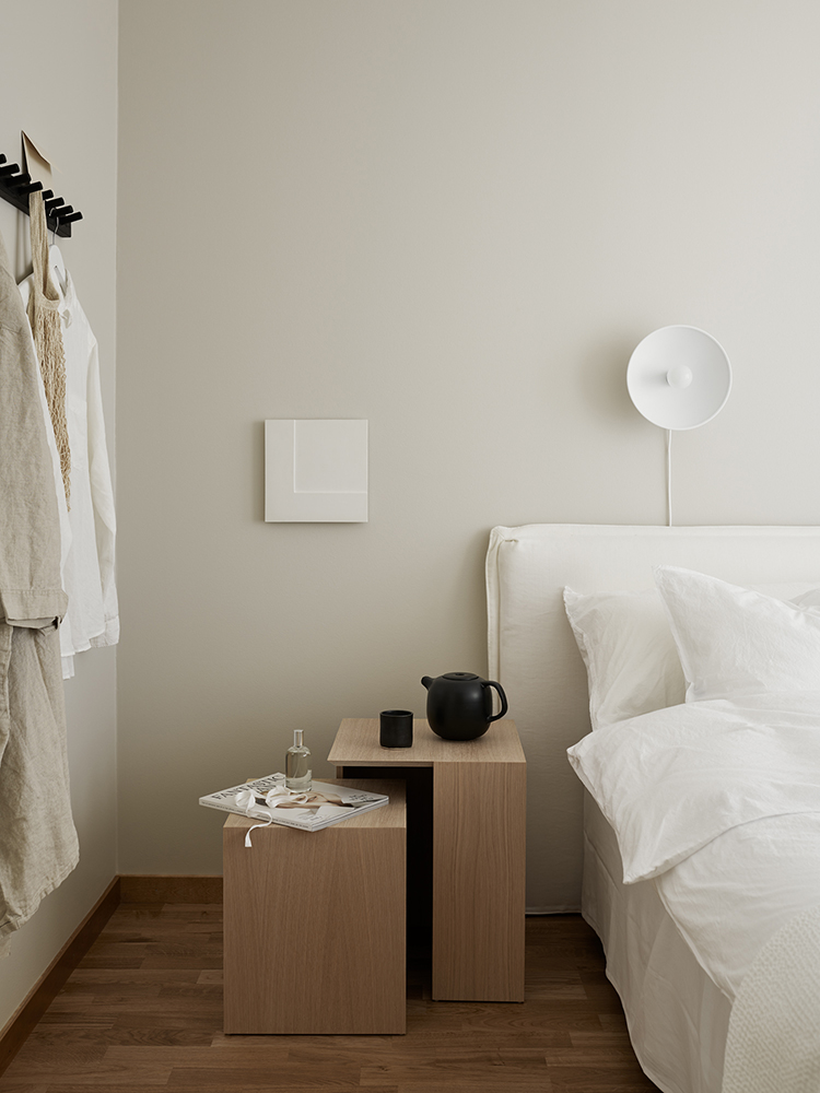 Calm bedroom in neutral hues designed by Evalotta Sundling and Elin Kickén via Residence