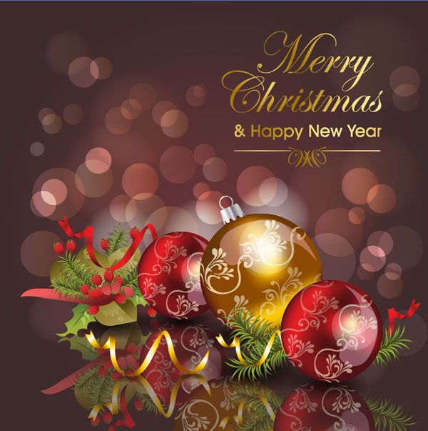 Happy merry christmas new year greetings card