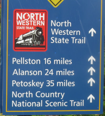 North Country Trail sign in Mackinaw City