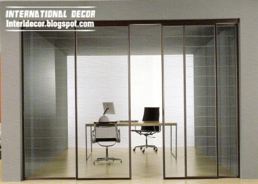 Modern sliding doors designs wide for office room interior