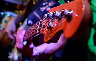 Detalle de los trastes de una guitarra