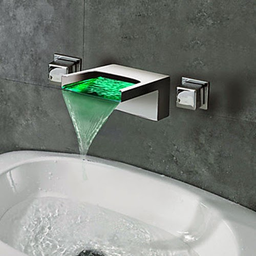 Green LED luminous water faucet & Creative washbasin faucet designs with LED lighting effects