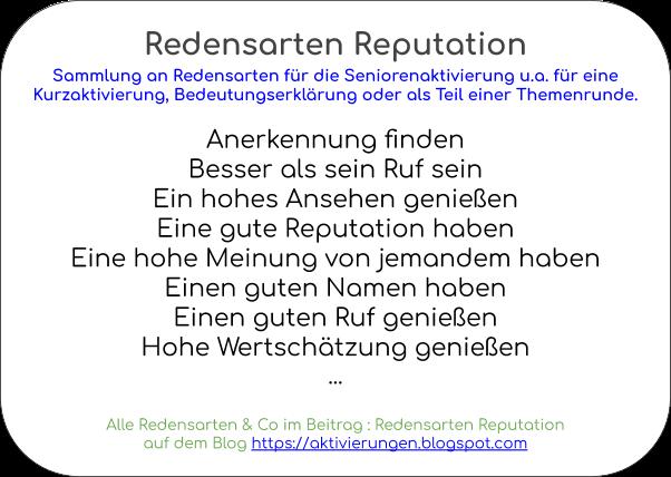 Sprichwörter Reputation, Redewendungen Reputation, 10 Minuten Aktivierung, Kurzaktivierung