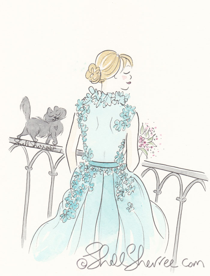Fashion and Fluffballs illustration: Aqua Gown Flowerama with Balancing Black Cat © Shell Sherree