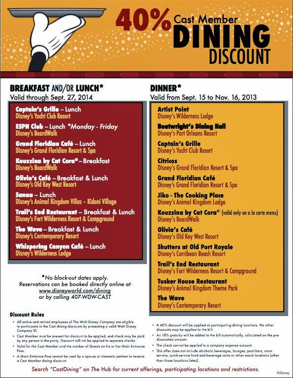 wdw cast member dining discounts