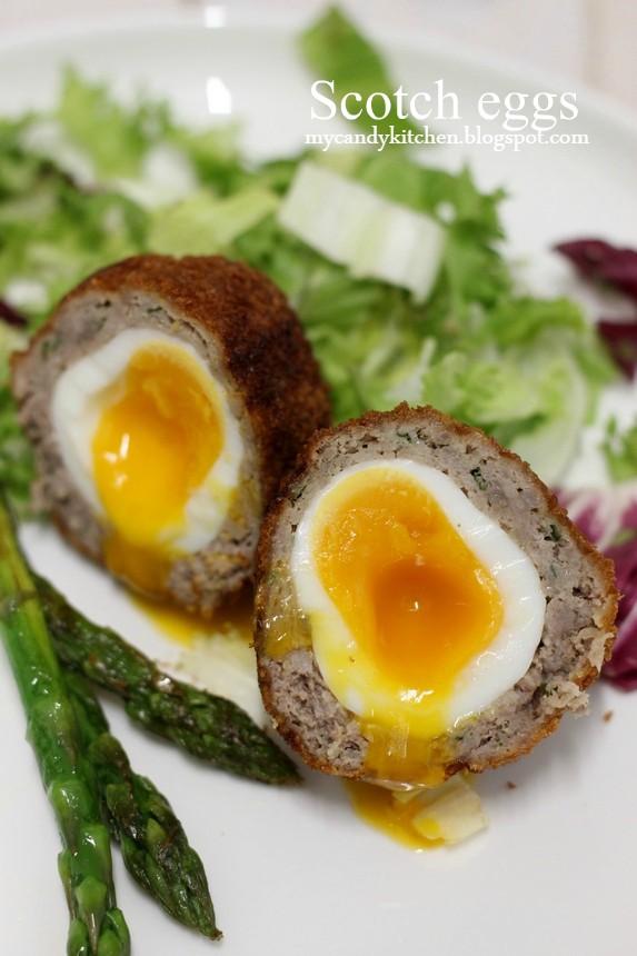 яйце в кайма, яйце по шотландски, яйце облечено в кайма