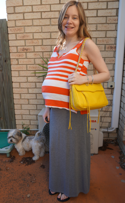 Away From Blue Third trimester pairing orange and yellow together with grey maxi skirt