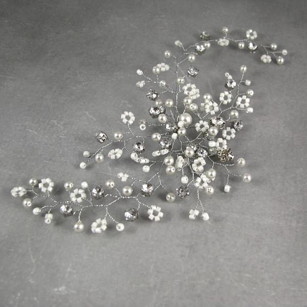 Stroik ślubny do włosów - gałązka z perłami.