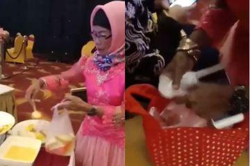 Bikin Heboh, Emak-Emak Ini Ke Kondangan Bawa Banyak Kantong Plastik Untuk Bungkus Makanan