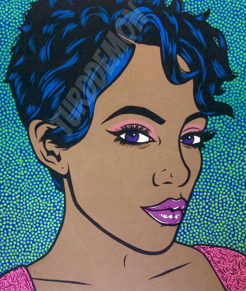4ft x 4ft pop art original comic woman girl painting black model