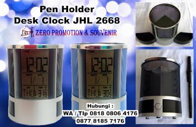 Pen Holder Promosi, Pen Holder Jam JHL 2668, Pen Holder, Pen Stand, jam tempat pensil pen, Calender Pen Holder, Jam Kalender Tempat tulis, Jam digital meja dengan harga termurah di Tangerang