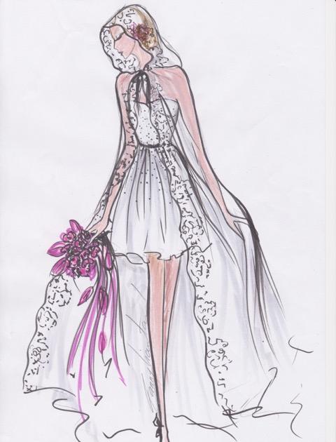 dessin et création#robe de mariee#Fanny Liautard