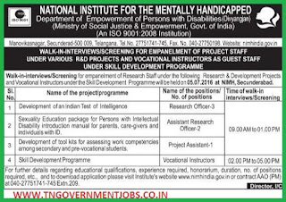 Walk in interview for Research Officer, Asst Research Officer, Project Asst and Vocational Instructor Posts in NIMH Hyderabad