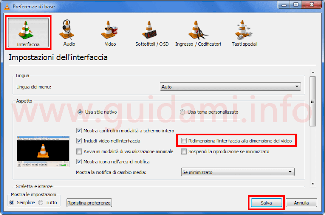 Preferenze VLC disattivare ridimensionamento interfaccia