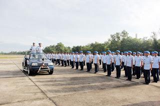 Upacara Peringatan HUT ke-71 POMAU di Lanud Roesmin Nurjadin