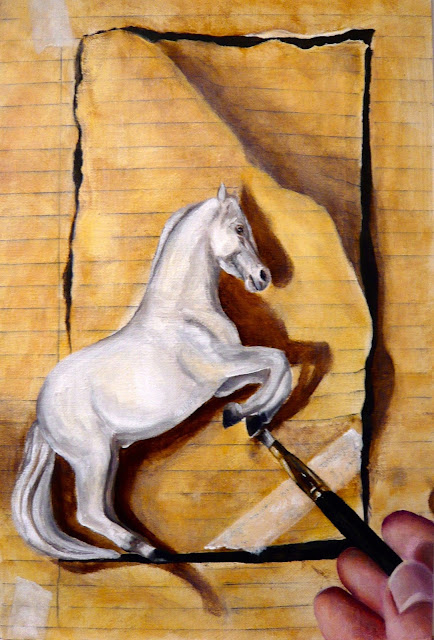 Trompe l'oeil horse with brush and hand