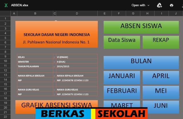 Aplikasi Absensi Siswa dengan Fitur Grafik Bisa Edit Format Excel
