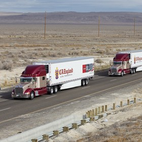 Two trucks using Peloton's technology drive close together in Utah. (Photo Credit: Peloton Technology) Click to Enlarge.