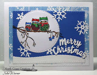 North Coast Creations Stamp Set: Very Merry, Paper Collection: Very Merry, ODBD Custom Dies: Double Stitched Rectangles, Double Stitched Circles, Leafy Edged Borders, Elegant Embellishments, Holiday Words