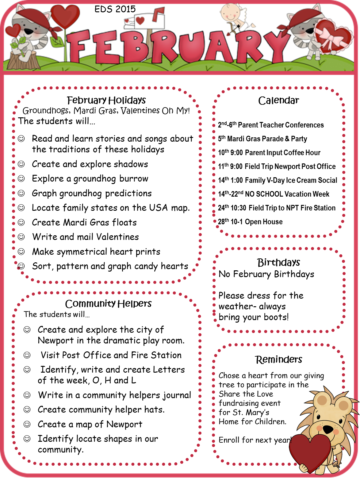 February%2BNewsletter January Daycare Newsletter Template on for august, november monthly, for parents summer, article examples for, about holidays off, for march home, creative arts, march month, for december print out,