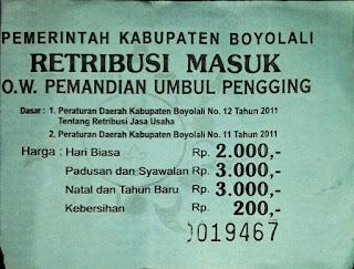 tiket masuk komplek pemandian pengging