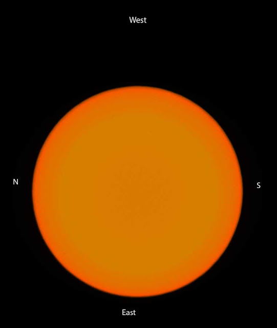 """The sun image drifts to the top of the camera viewfinder indicating """"west"""" cardinal direction"""