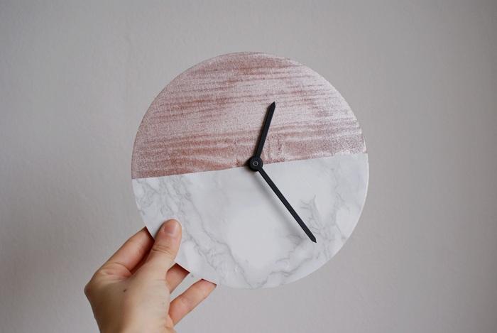 orologio marmo rame faidate diy