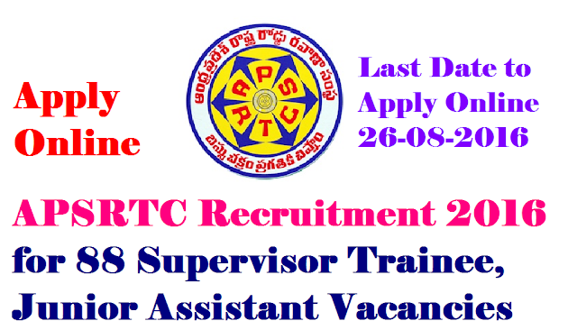 APSRTC Recruitment 2016 for 88 Supervisor Trainee, Assistant|Andhra Pradesh State Road Transport Corporation (APSRTC) Has Invited Application Form For 88 Supervisor Trainee, Assistant.|88 Supervisor Trainee, Assistant APSRTC Recruitment 2016|www.apsrtc.gov.in|Eligibility details for APSRTC Job Advertisement and Apply Online Before Or On26-08-2016|Andhra Pradesh State Road Transport Corporation (APSRTC) Jobs Notification 2016 Detailed Vacancy Information/2016/08/Andhra-Pradesh-State-Road-Transport-Corporation-apsrtc-recruitment-2016-for-88-supervisor-trainee-assistant-vacancy-details.html