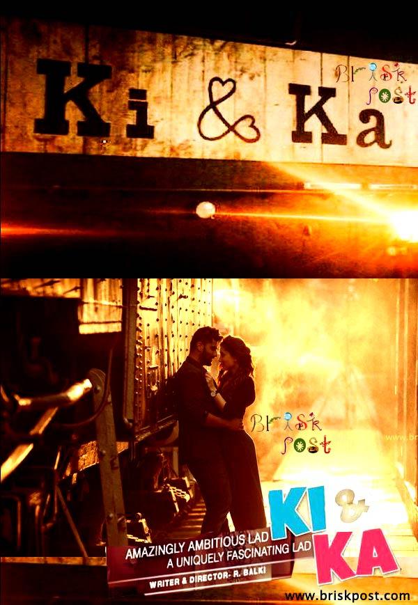 Sizzling romantic chemistry of Arjun Kareena near train in Ki And Ka poster