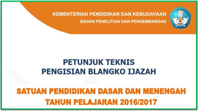 Juknis Penulisan Ijazah SD SMP dan SMA tahun 2017