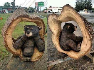 Obras de arte hechas con madera tallada oso