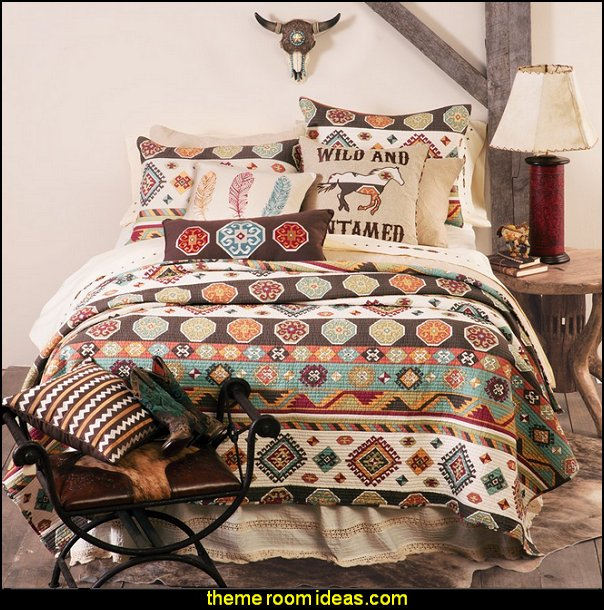 Wild and Untamed Quilt  cowboy theme bedrooms - rustic western style decorating ideas - rustic decor - cowboy decor - Cowboy Bedding Western bedroom decor - horse decor - cowboy wall murals horse wall murals