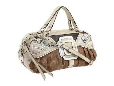 Guess Hugs Handbag Box Satchel Natural Multi Vinyl Las Purse