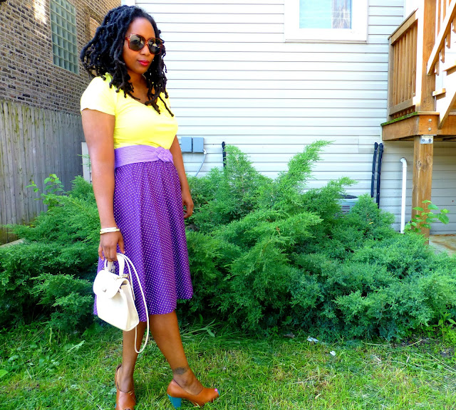 vintage purple polka dot skirt and vintage coach bag