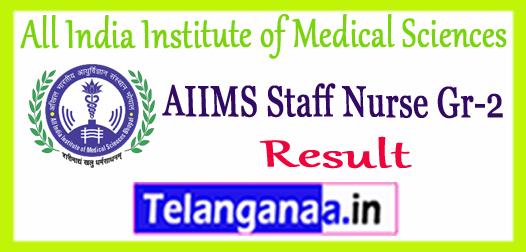 AIIMS Rishikesh All India Institute of Medical Sciences Staff Nurse Gr 2 Result 2017 Merit List