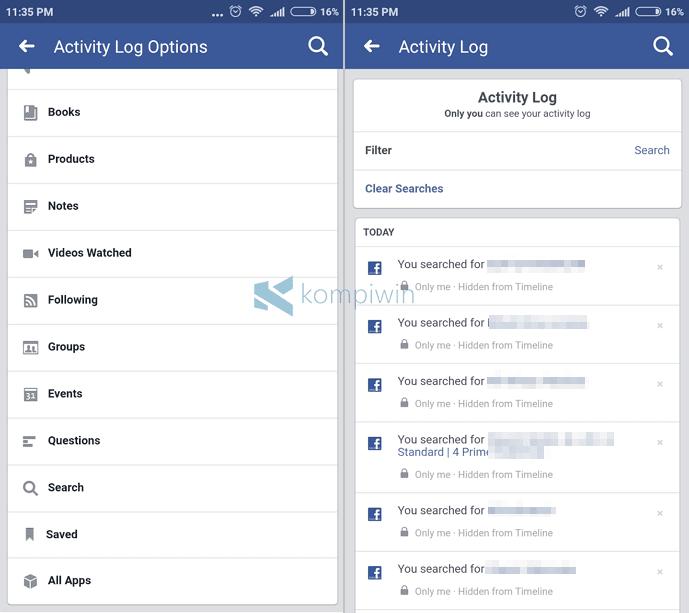 hilangkan history pencarian facebook