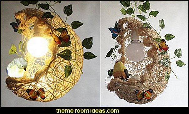 Rattan Chandelier Cage Bird  bird themed bedroom design ideas - bird theme decor - bird theme bedding - bird bedroom decor - bird cage bedroom decor