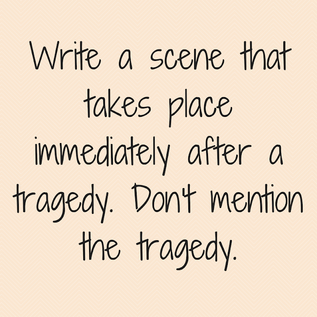 Write a scene that takes place immediately after a tragedy. Don't mention the tragedy.