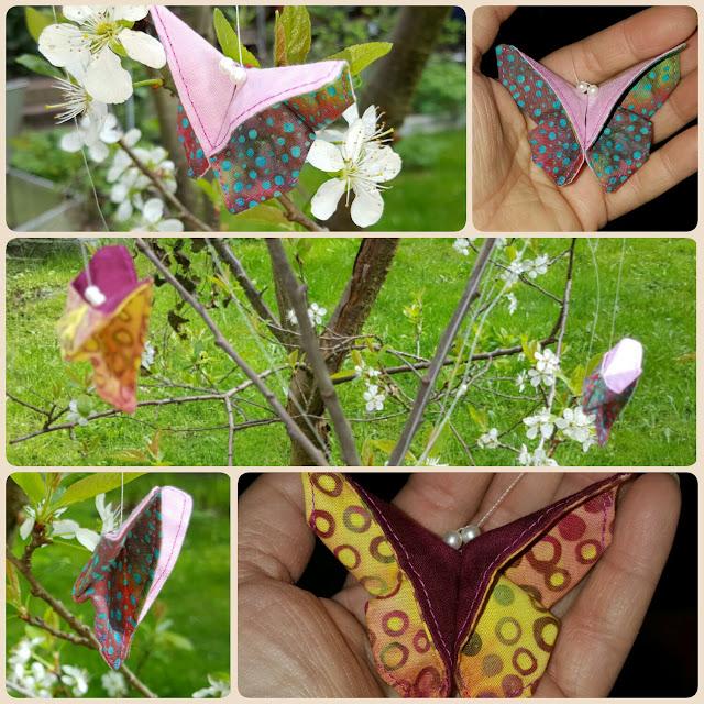 genähte Origami Schmetterlinge aus Batik Stoffresten