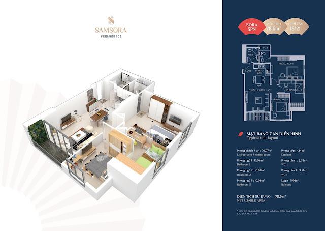 Thiết kế căn hộ 18 & 21: Diện tích 78,57m2