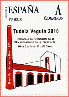 Sello personalizado de GRUCOMI en el homenaje al XXV aniversario de la tragedia de la Mina Confiada 3ª