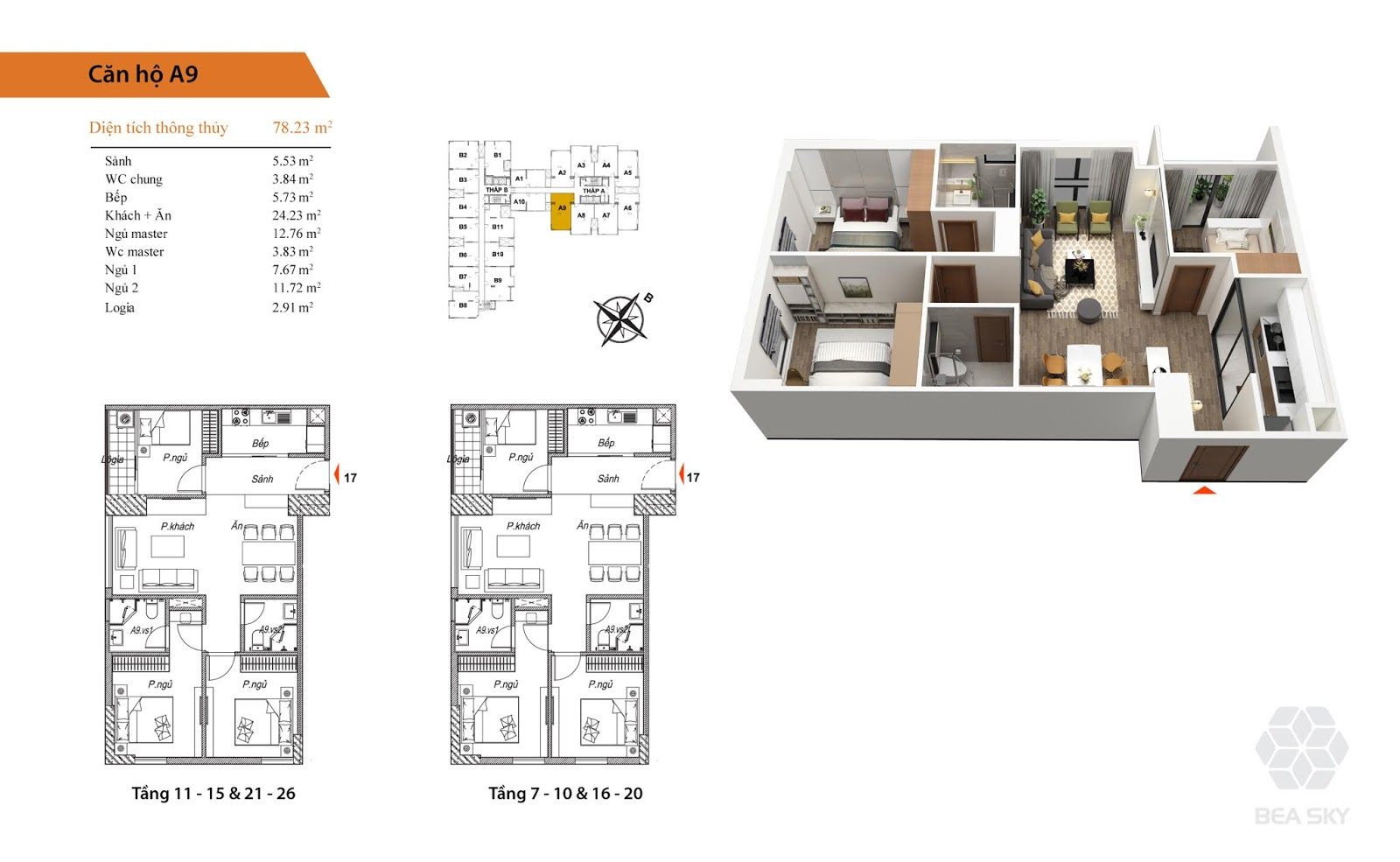 Thiết kế căn A9 chung cư Bea Sky Nguyễn xiển