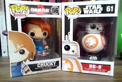 Funko pop Chucky e BB-8 na caixa
