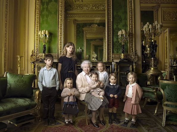 James, Viscount Severn, Lady Louise Alice Elizabeth Mary Mountbatten-Windsor, Mia Tindall, the Queen, Princess Charlotte, Savannah Phillips, Prince George and Isla Phillips.