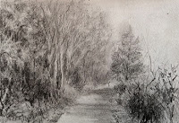 Pencil drawing of landscape in sketch book
