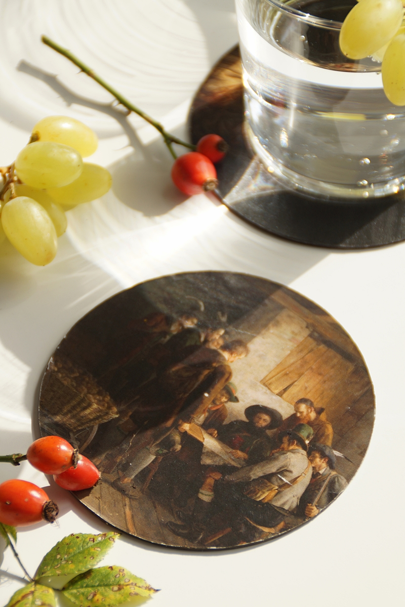 DIY party coasters with dark portrait painting motives for autumn